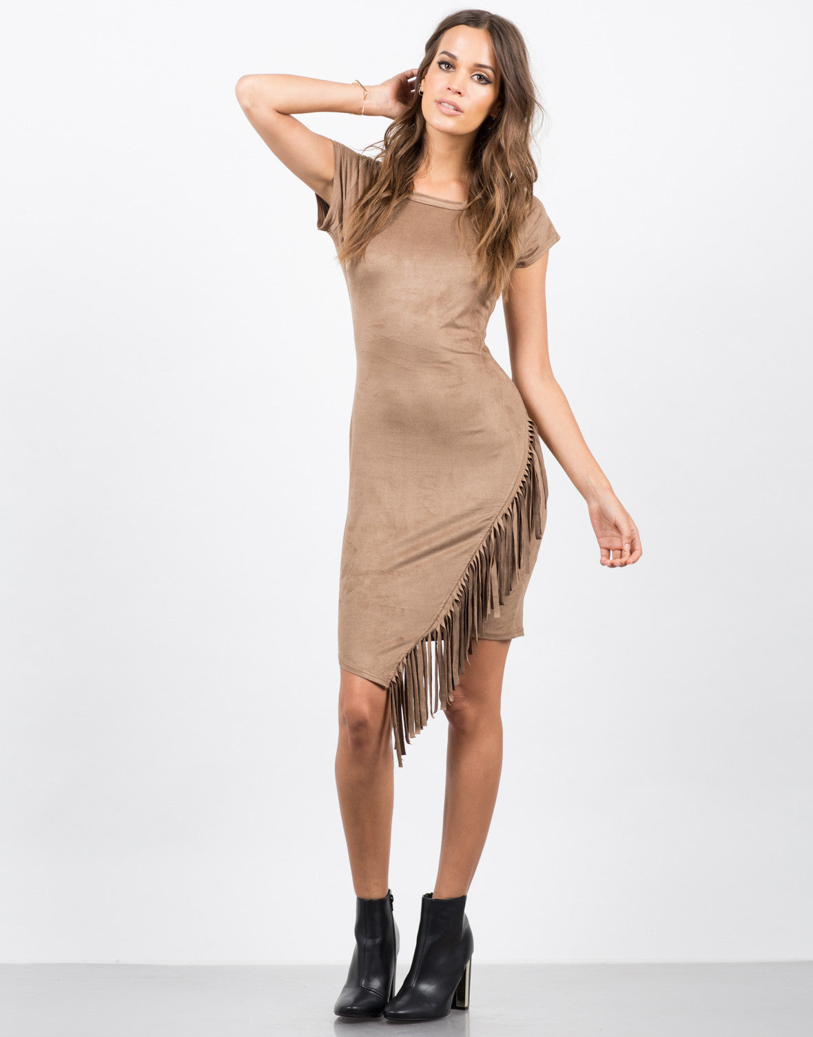Front View of Side Fringe Tee Dress