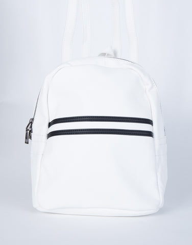 White Sidekick Mini Backpack - Front View