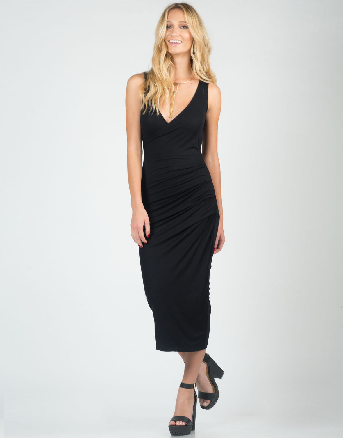 Front View of Side Pleated Midi Dress
