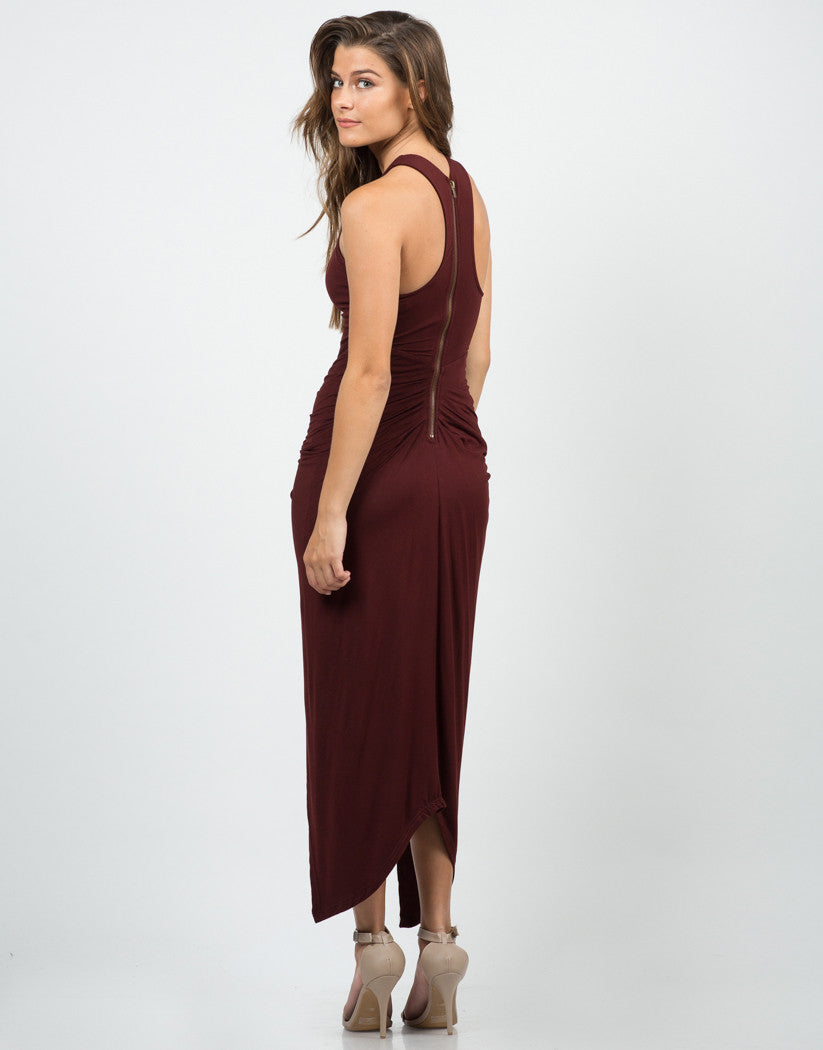 Back View of Side Scrunched Maxi Dress