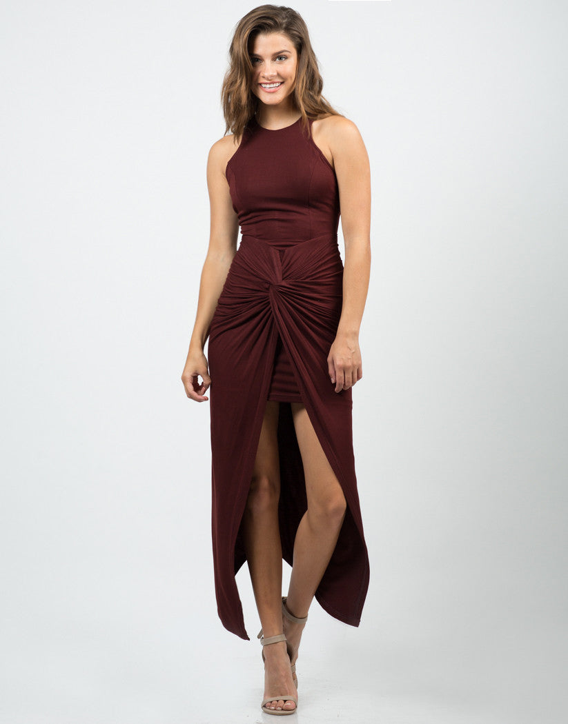 Front View of Side Scrunched Maxi Dress