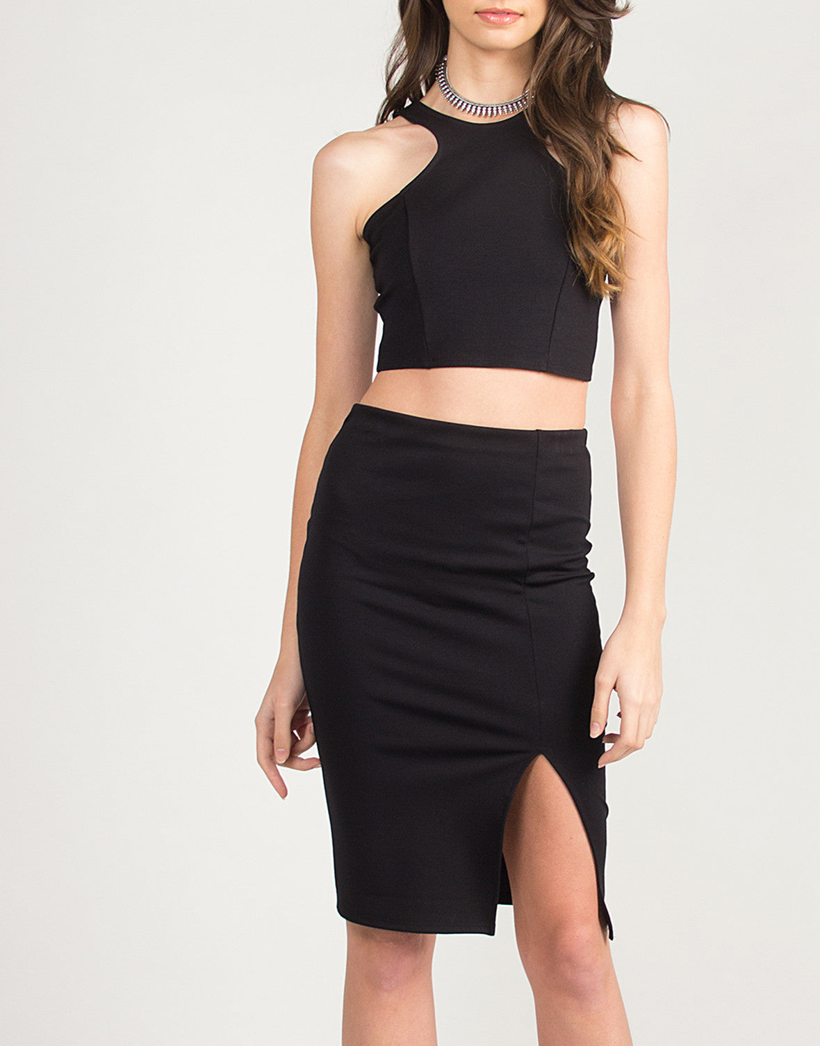 Side Slit Body Con Pencil Skirt - Black