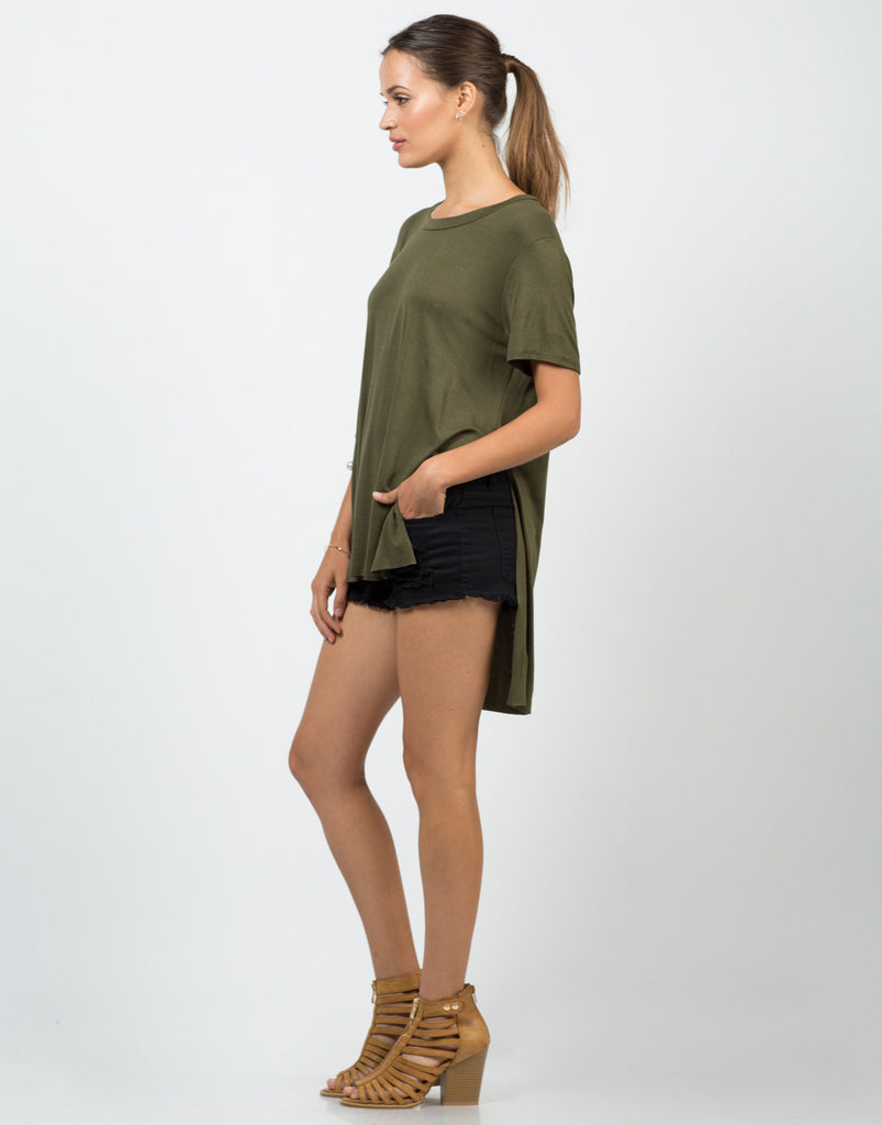 Side Slit Boyfriend Tee - 2020AVE