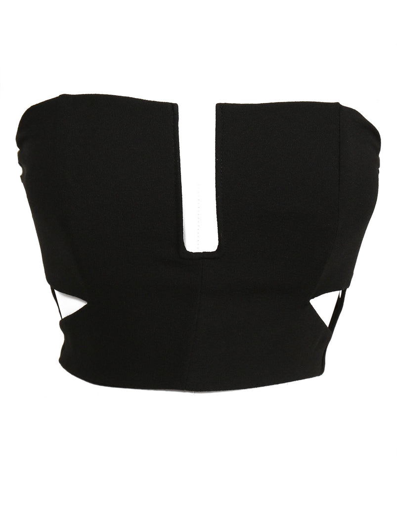 Side Slit Strapless Wired Crop Top - Black - 2020AVE