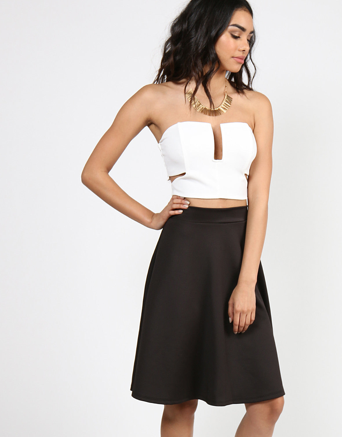 Side Slit Strapless Wired Crop Top - White