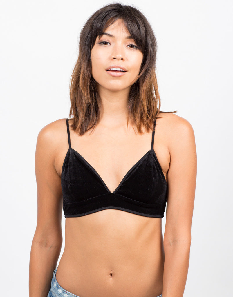 Side Slit Velvet Triangle Bralette - Black - 2020AVE
