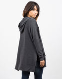 Back View of Side Slit Zip Down Jacket - Charcoal