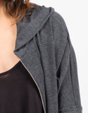 Detail of Side Slit Zip Down Jacket - Charcoal