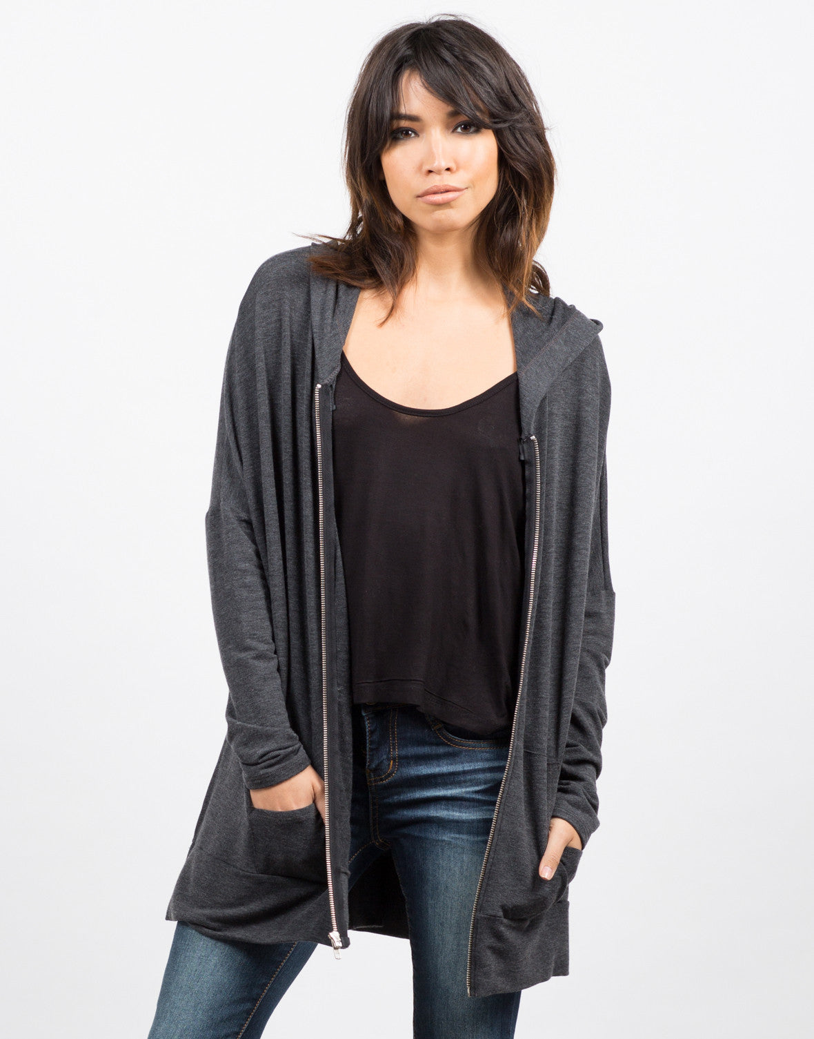 Front View of Side Slit Zip Down Jacket - Charcoal