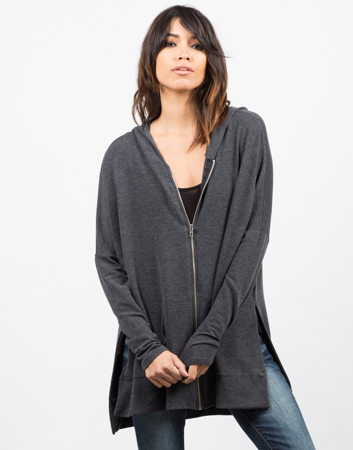 Side Slit Zip Down Jacket - Charcoal - 2020AVE