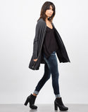 Side View of Side Slit Zip Down Jacket - Charcoal