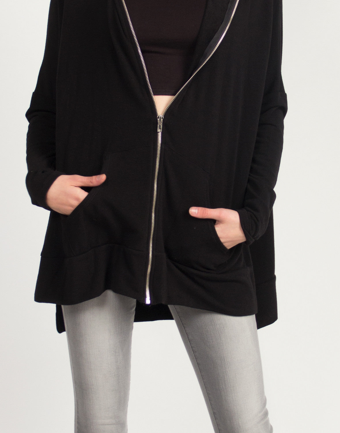 Side Slit Zip Down Jacket - Black