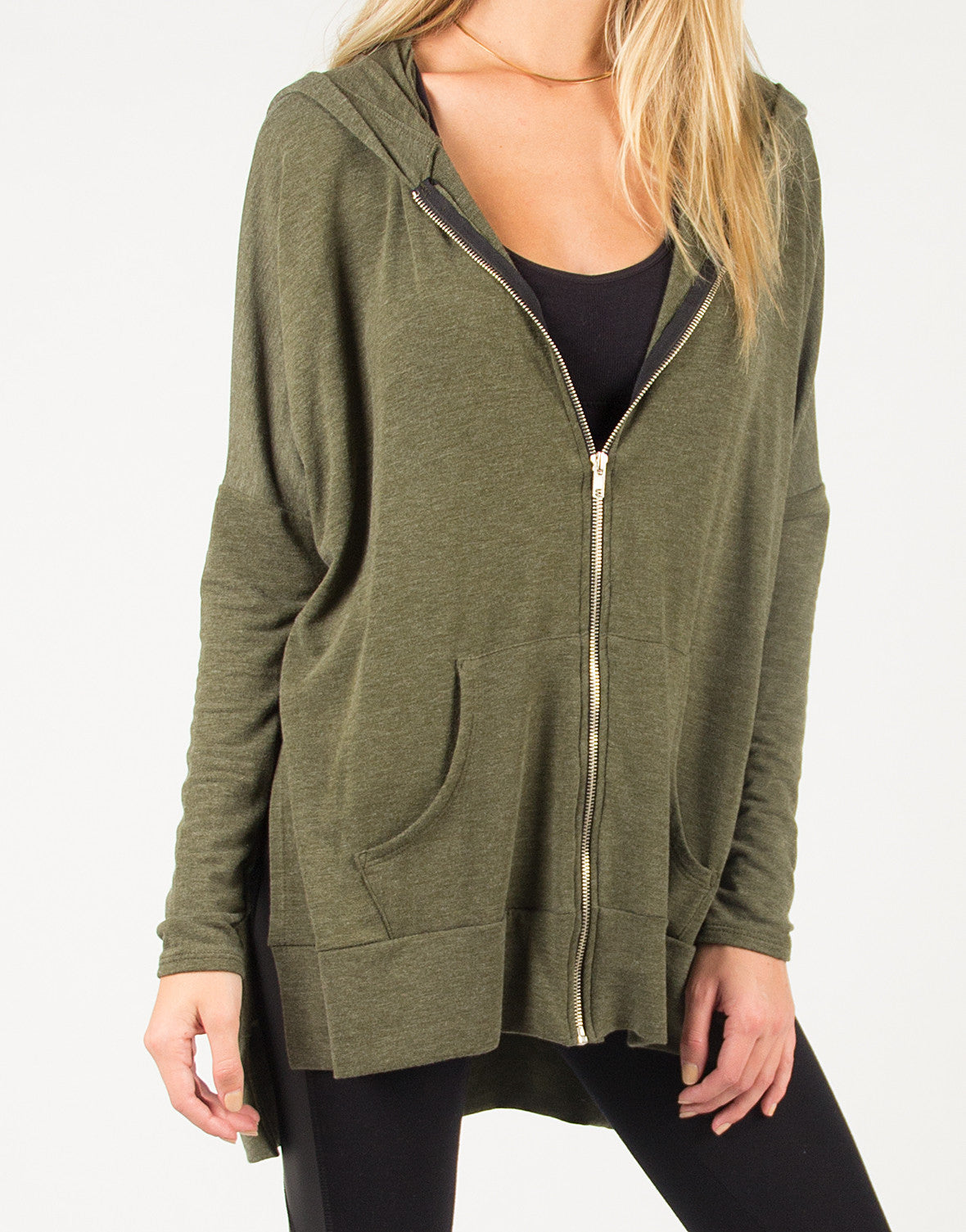 Side Slit Zip Down Jacket