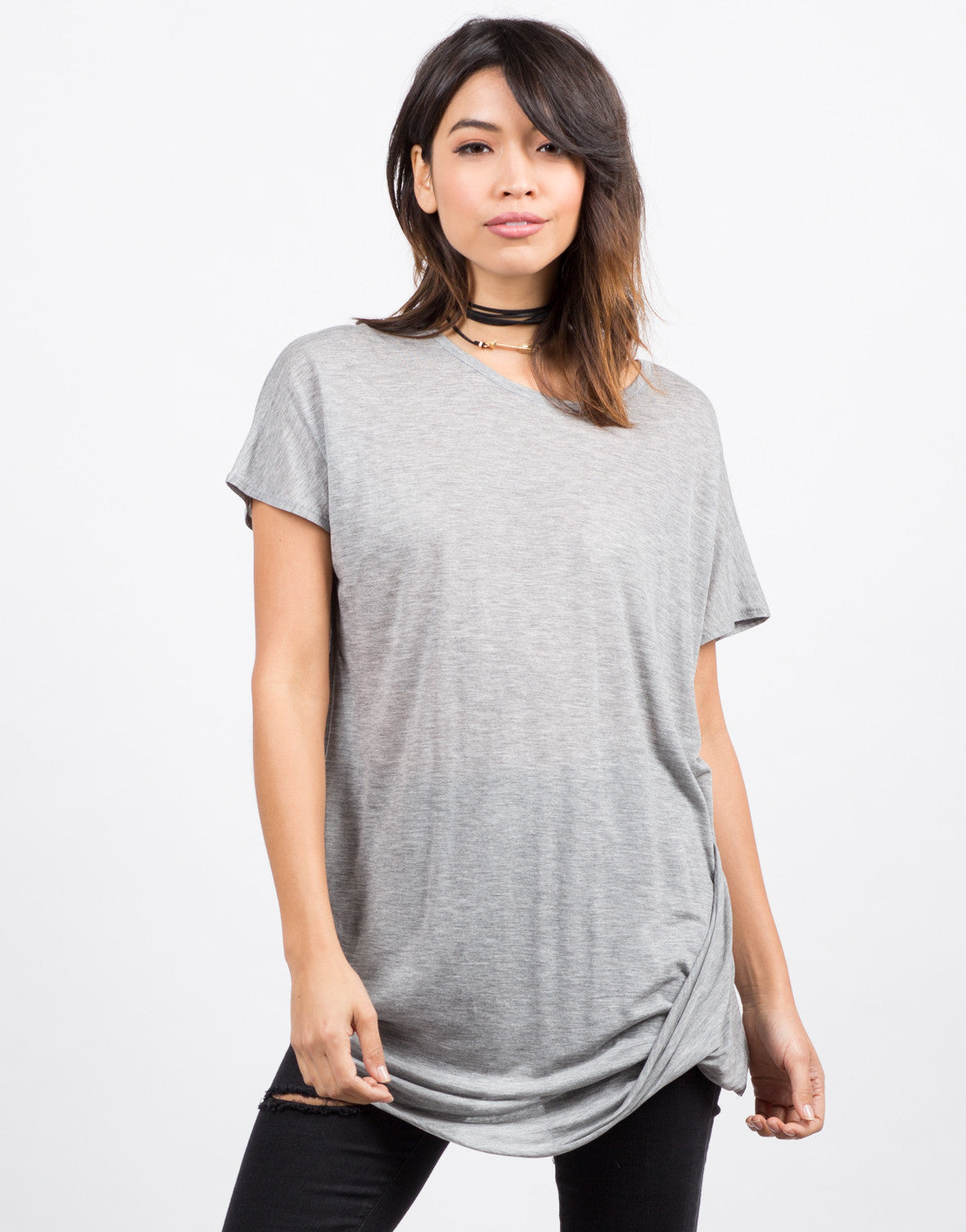 Front View of Side Twisted Tunic Tee