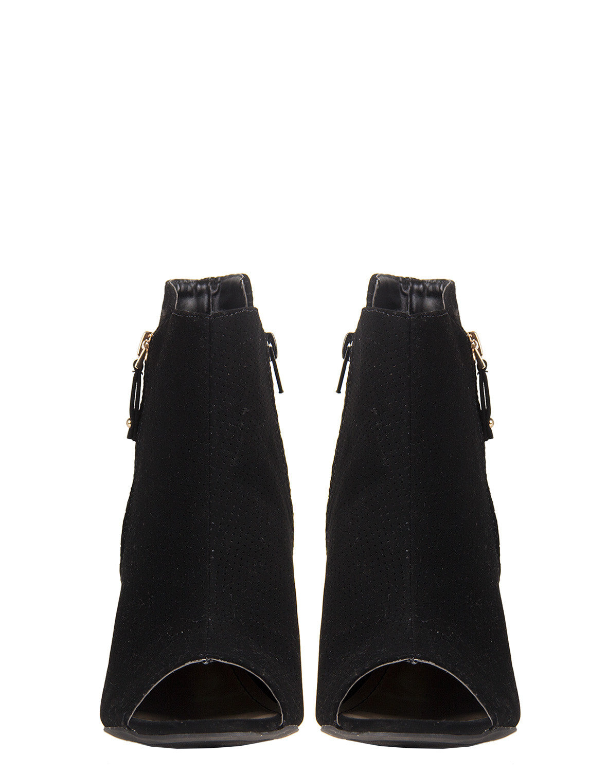 Side Zipper Open Toe Booties - Black Bamboo Abbatha-13 Black