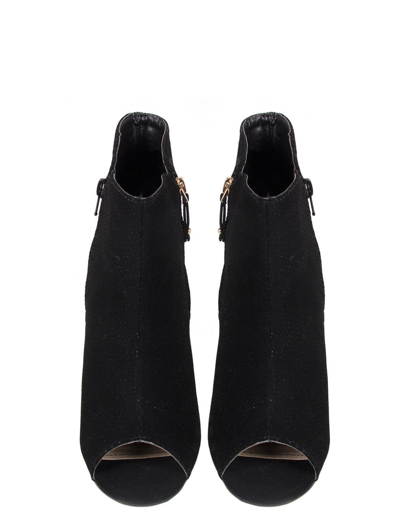 Side Zipper Open Toe Booties - 2020AVE