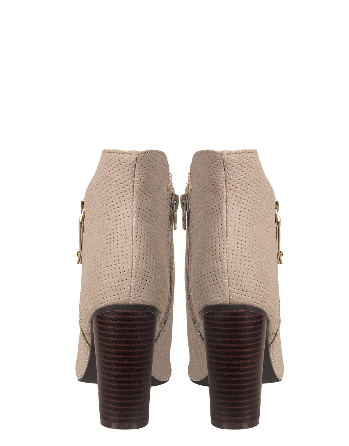 Side Zipper Open Toe Booties - Gray Bamboo Abbatha-13 Stone Grey
