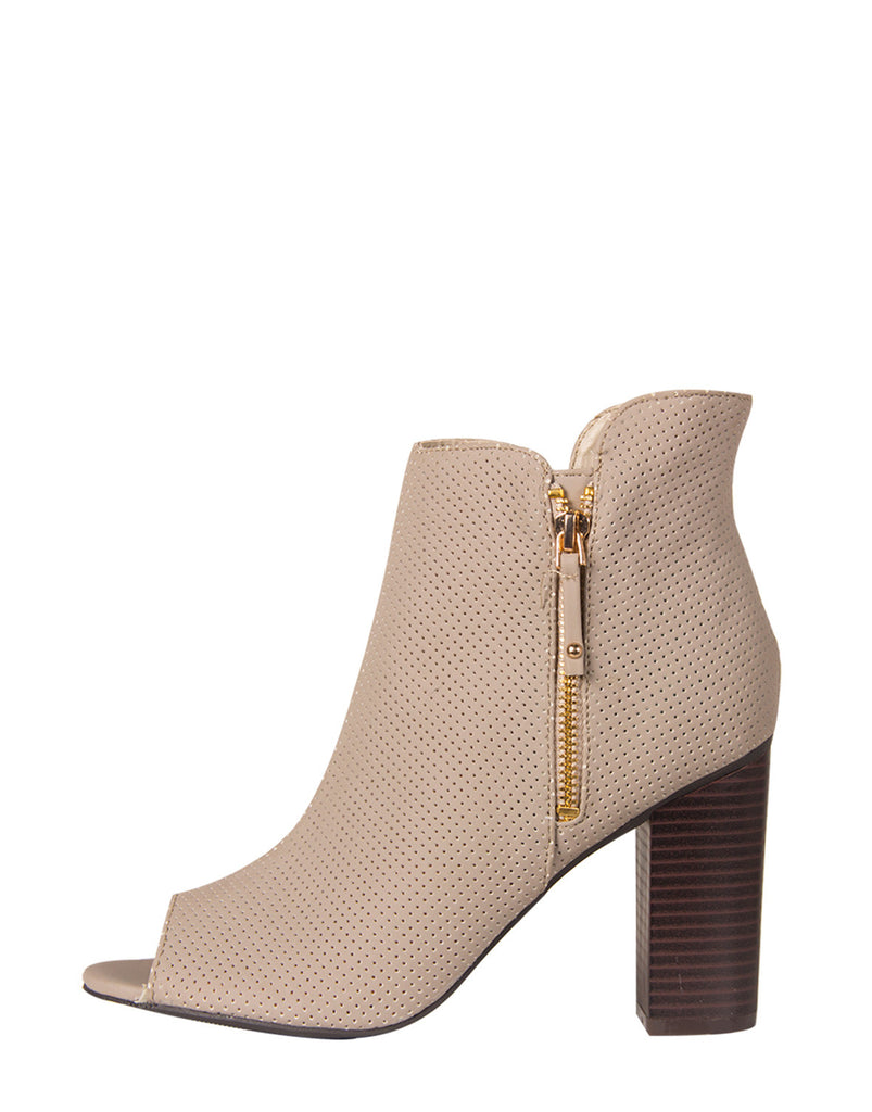Side Zipper Open Toe Booties - Gray - 2020AVE