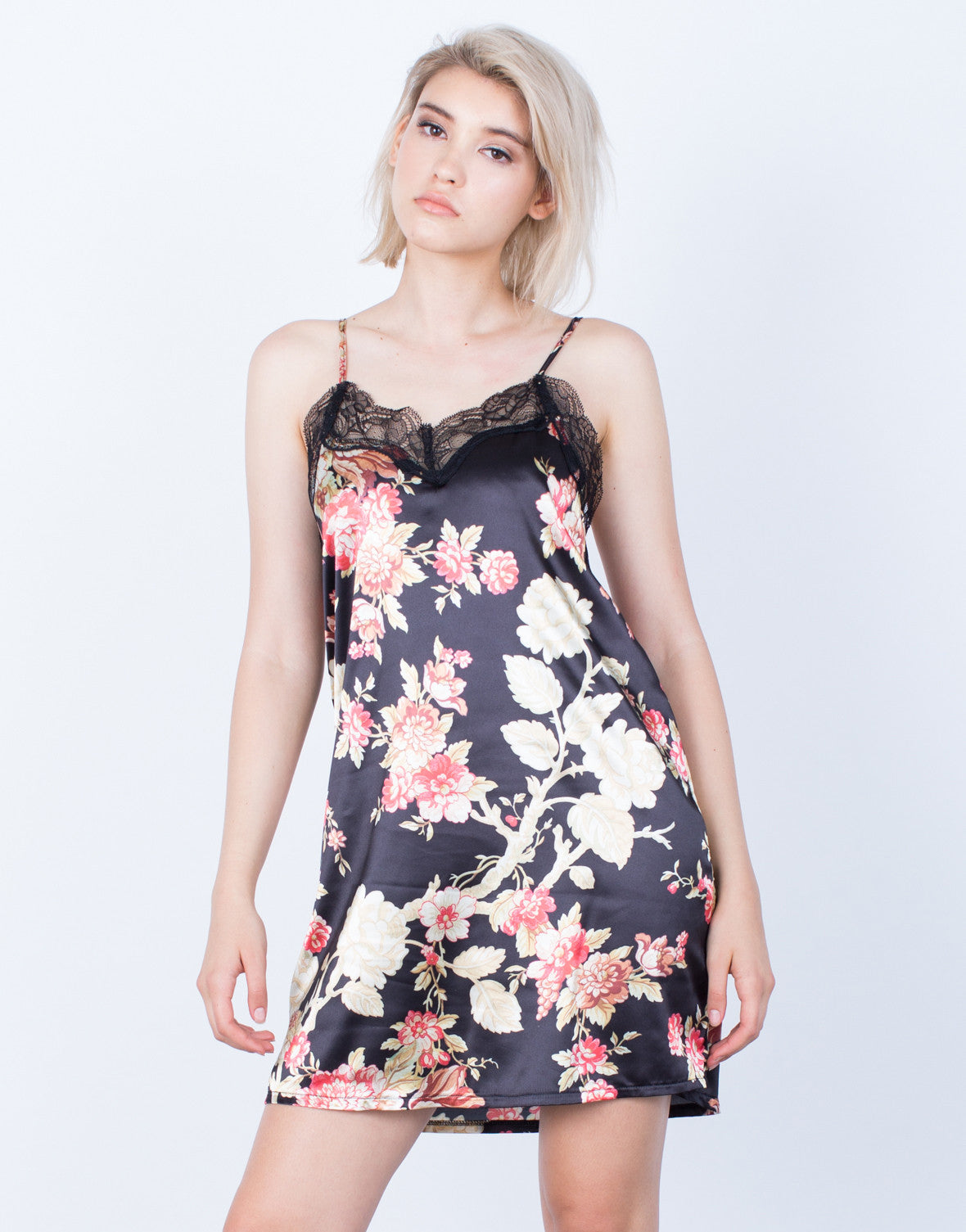 Front View of Silky Floral Slip Dress