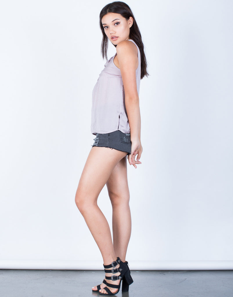 Side View of Silky Lace-Up Tank