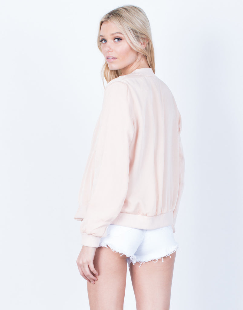 Back View of Silky Satin Bomber