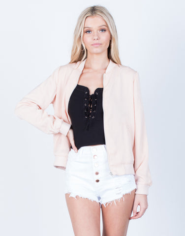 Front View of Silky Satin Bomber