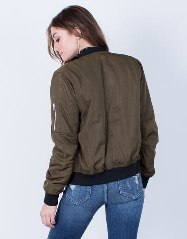 Back View of Silky Satin Bomber Jacket