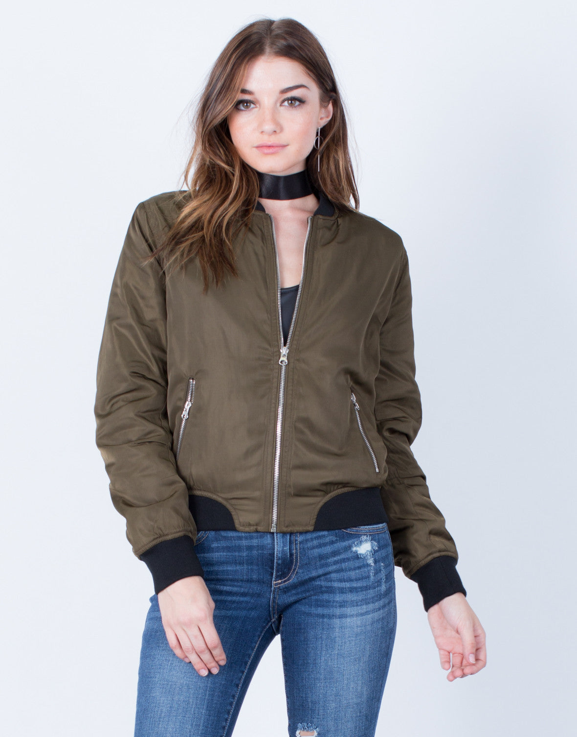 Front View of Silky Satin Bomber Jacket
