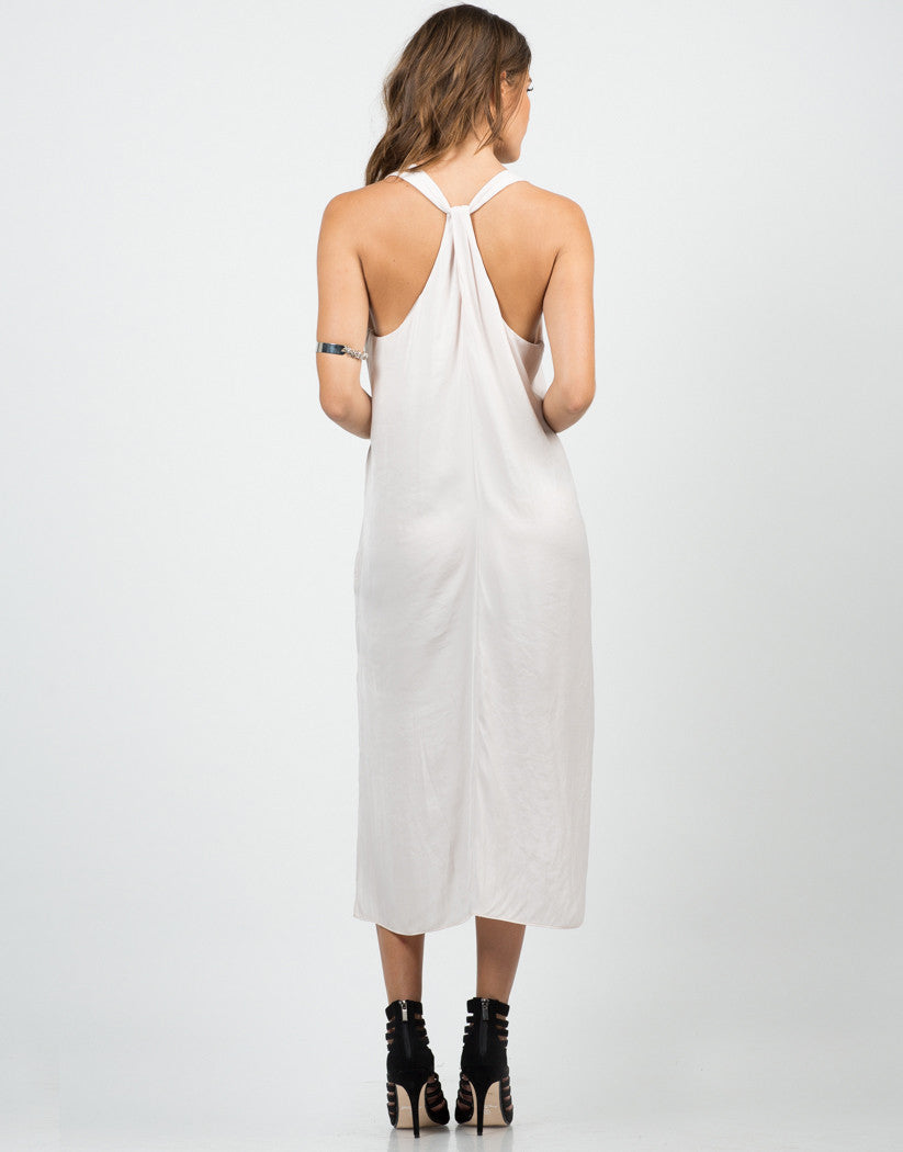 Back View of Silky Knotted Back Dress - Blush