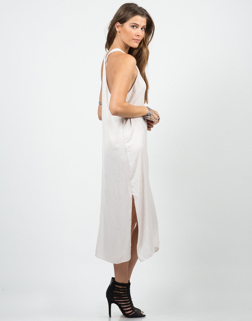 Side View of Silky Knotted Back Dress - Blush