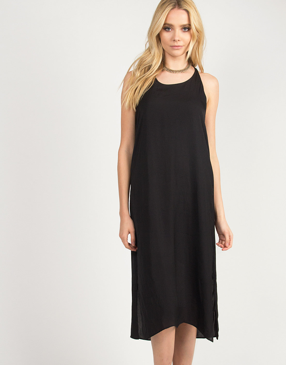 Silky Knotted Back Dress - Black
