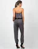 Back View of Silky Strapless Jumpsuit