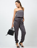Front View of Silky Strapless Jumpsuit
