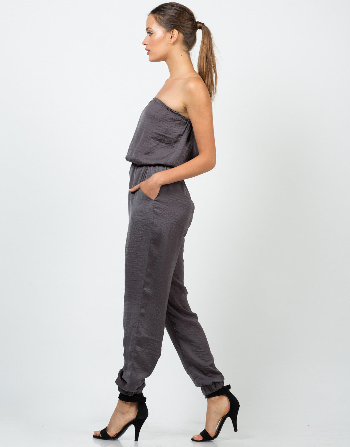 Side View of Silky Strapless Jumpsuit