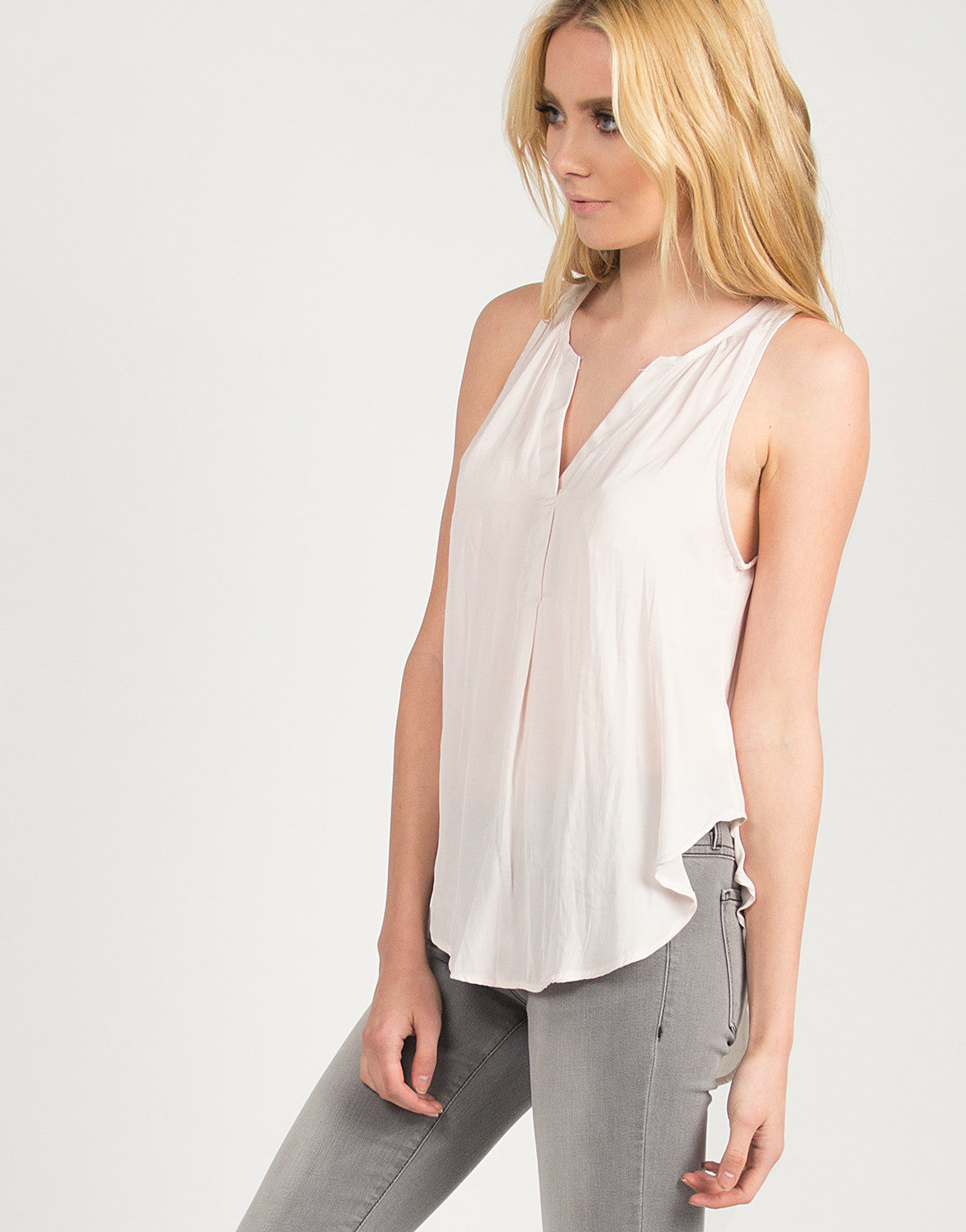 Silky Flowy V-Neck Tank - Blush - 2020AVE
