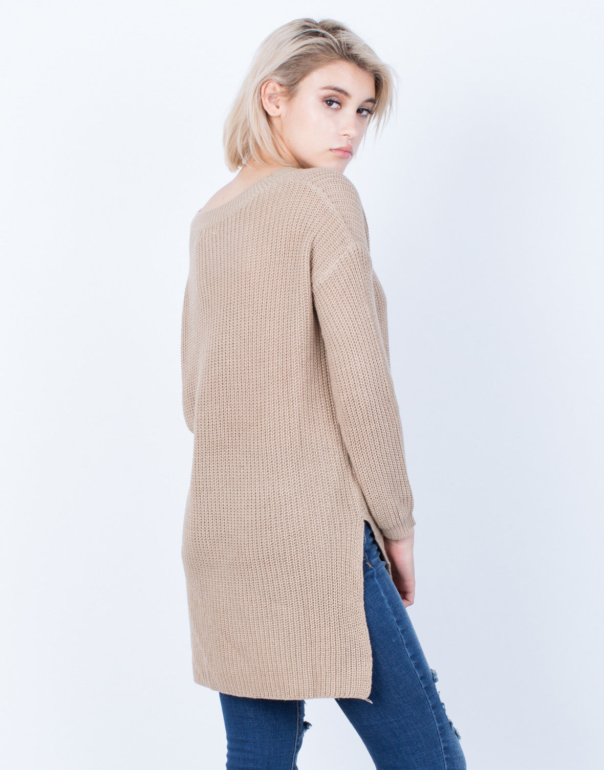 Back View of Simple Chunky Knit Sweater Top