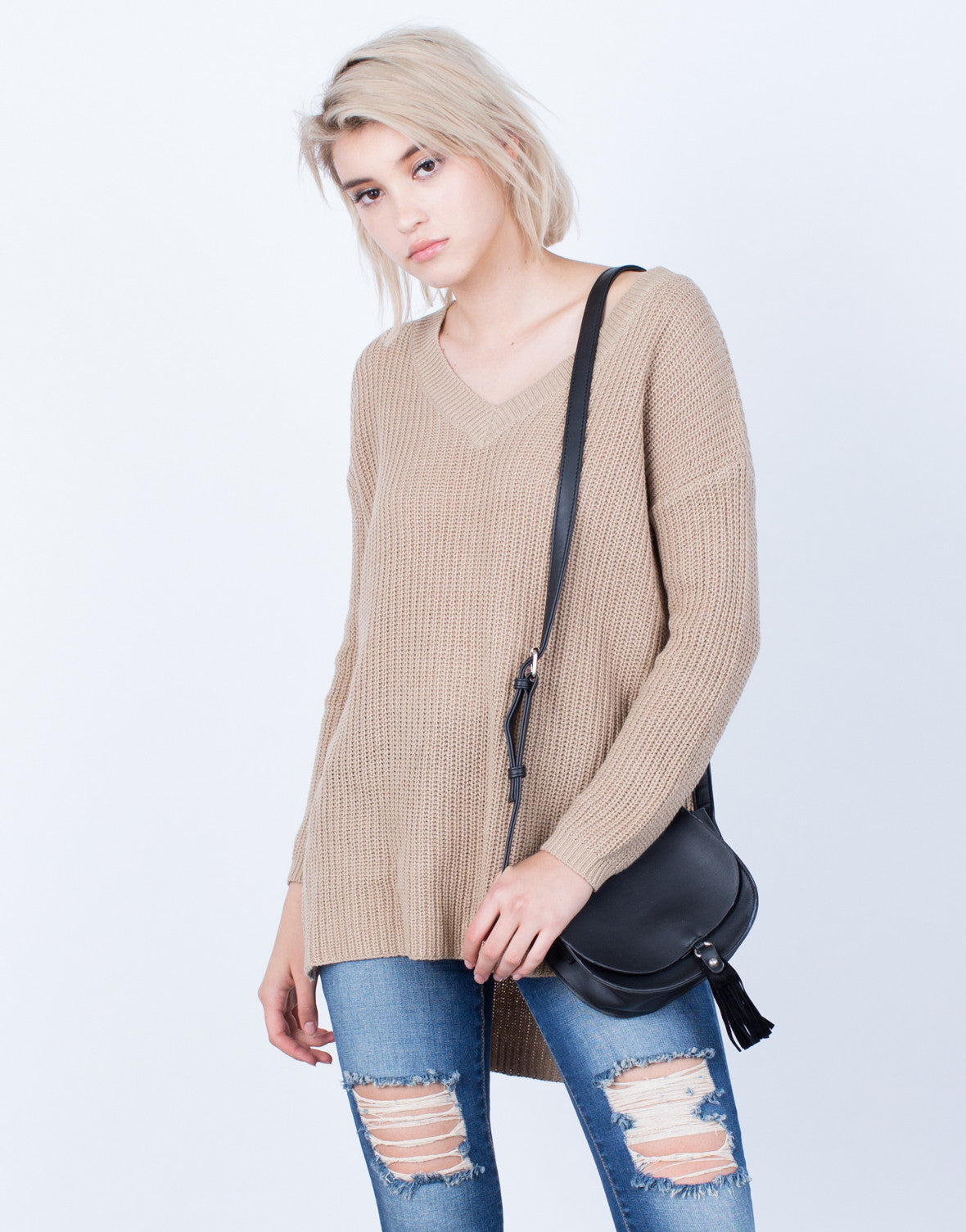 Front View of Simple Chunky Knit Sweater Top