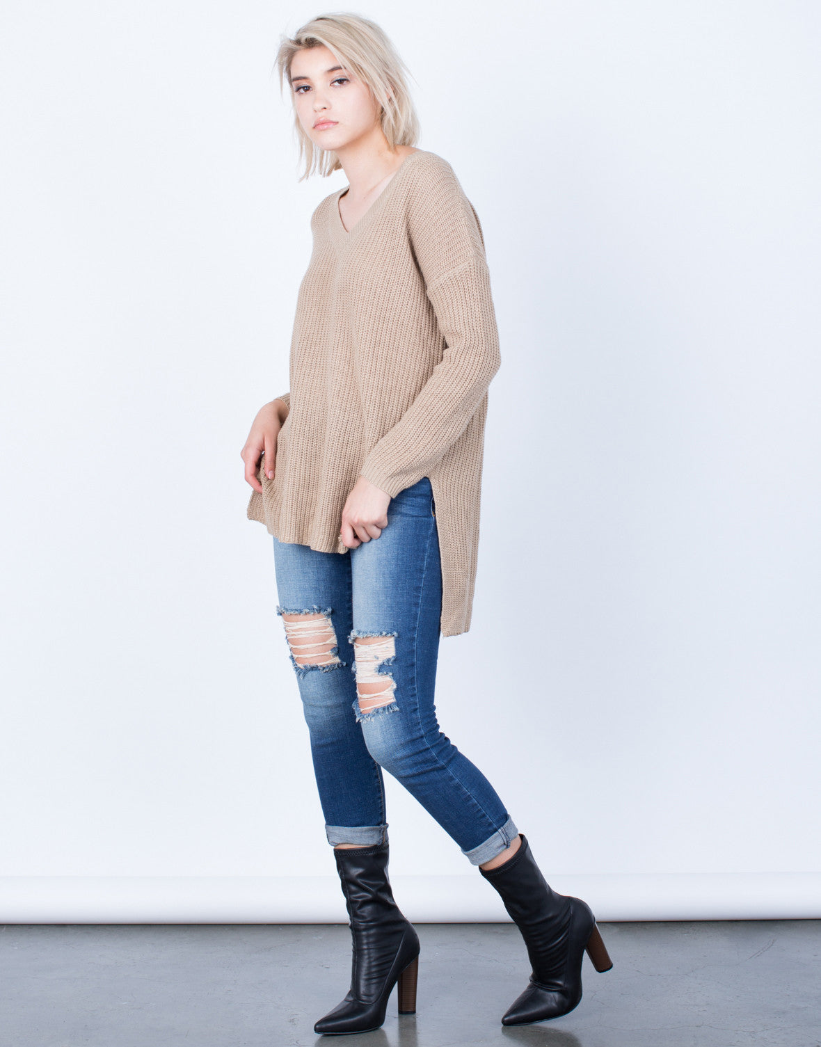 Side View of Simple Chunky Knit Sweater Top
