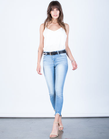 Front View of Simple Cropped Jeans