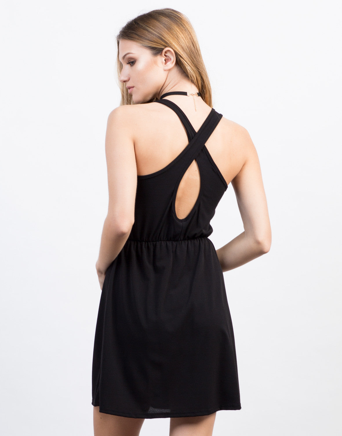 Back View of Simple Cross Back Dress