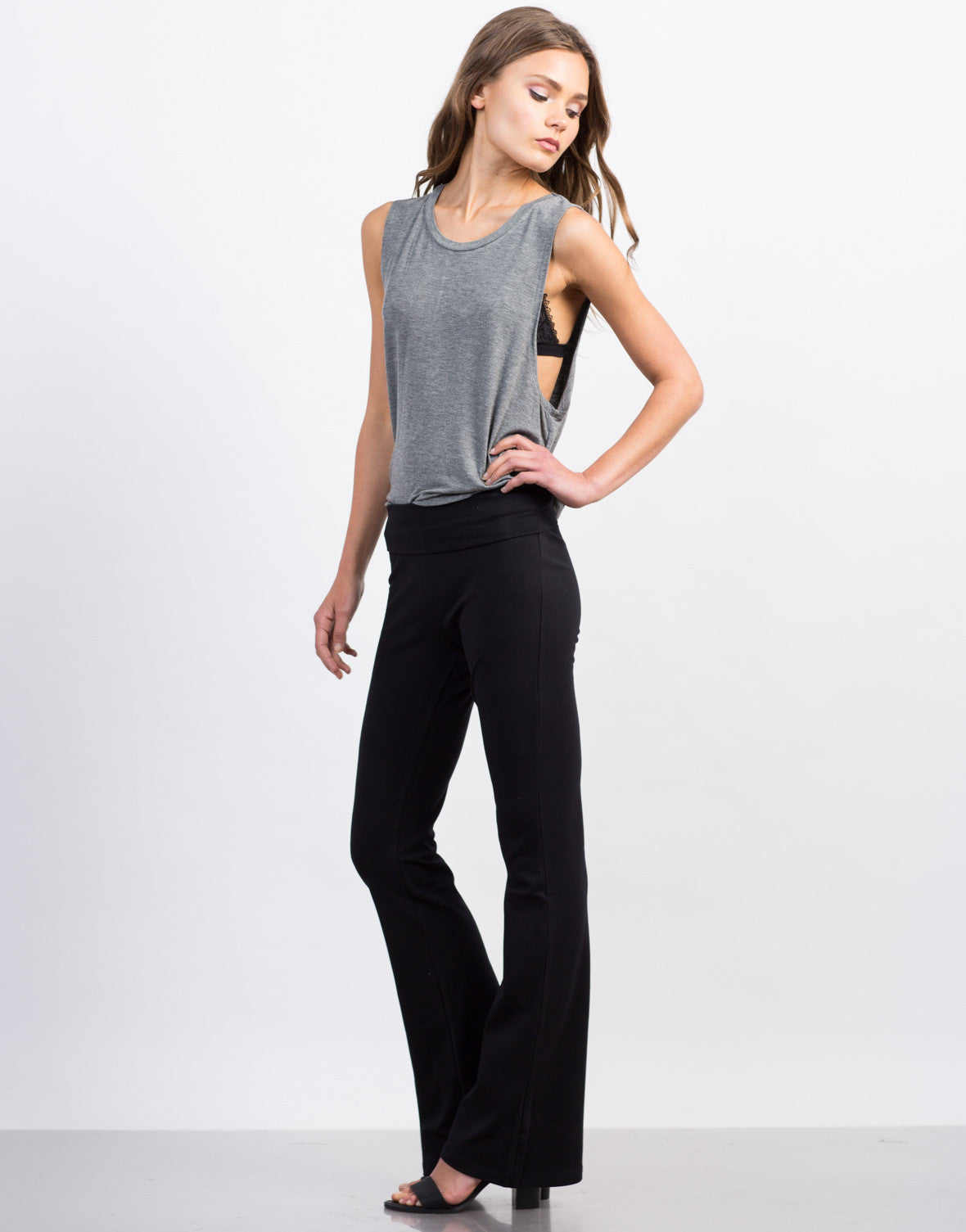 Side View of Simple Flared Pants