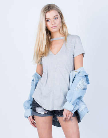 Front View of Simple Flowy Knit Tee