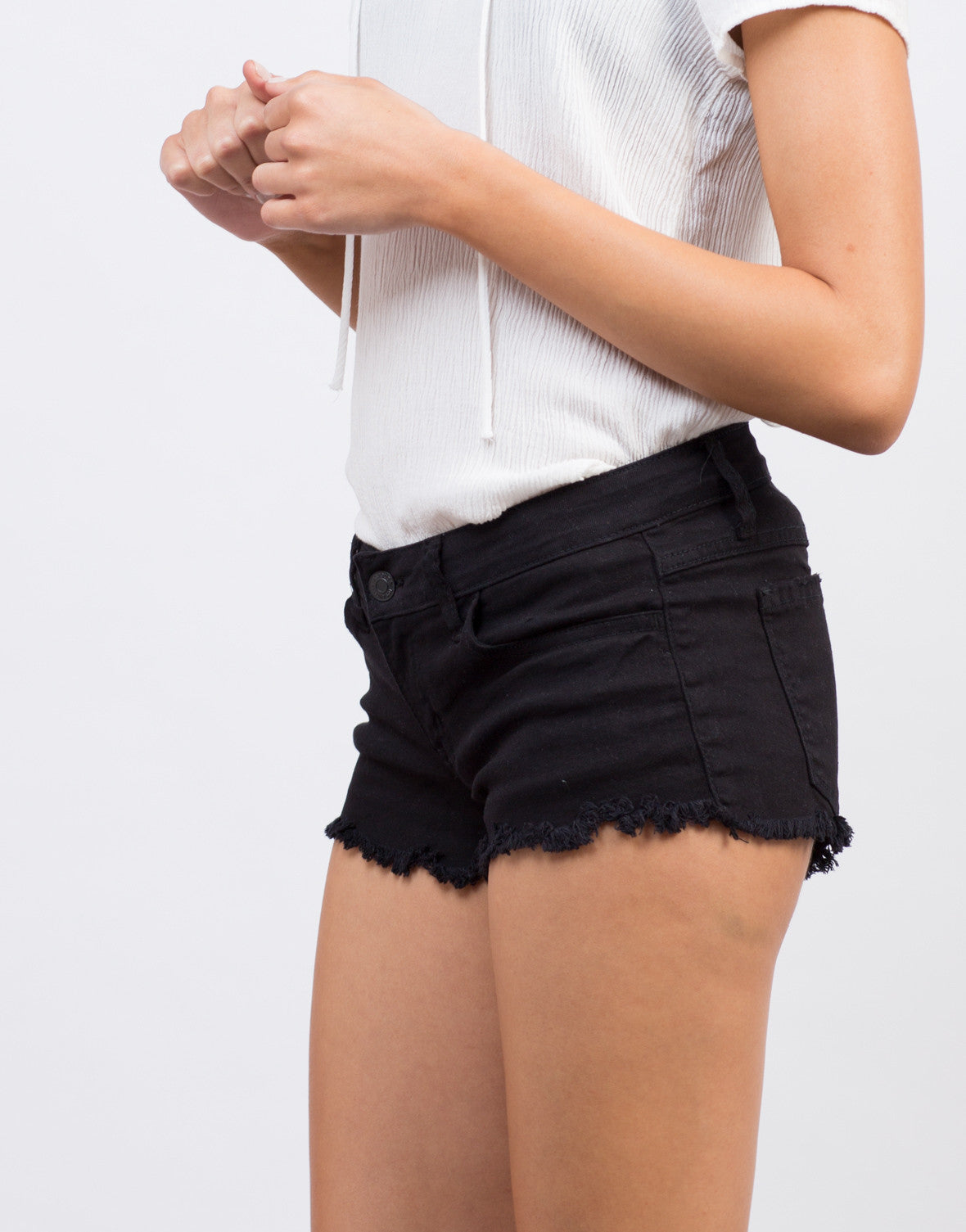 Detail of Simple Frayed Denim Shorts