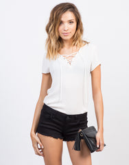 Simple Frayed Denim Shorts