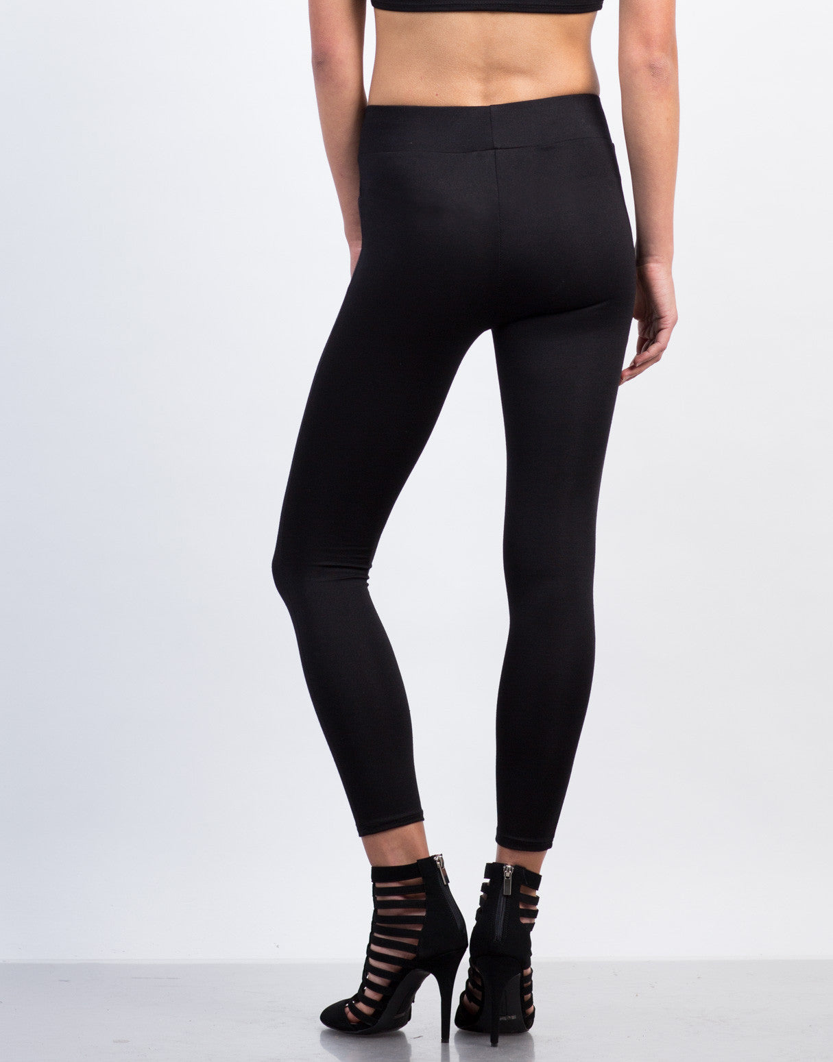 Back View of Simple High Waisted Legging Pants