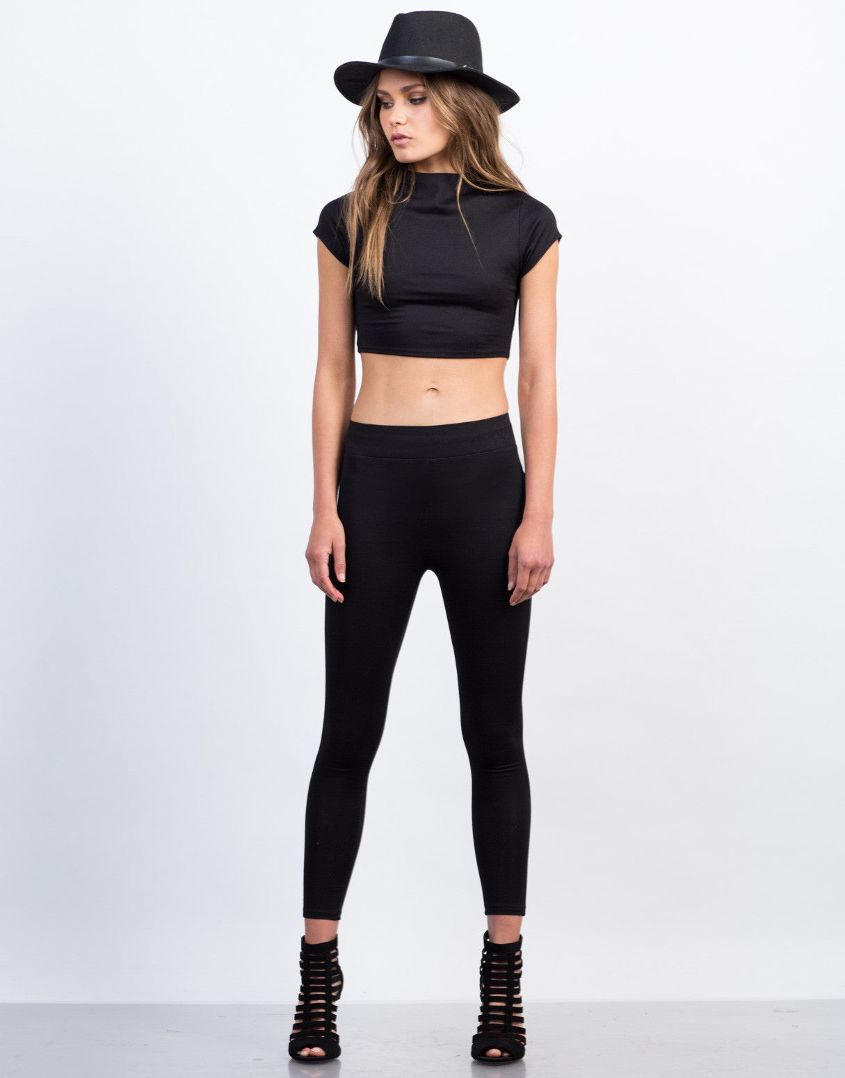 Front View of Simple High Waisted Legging Pants