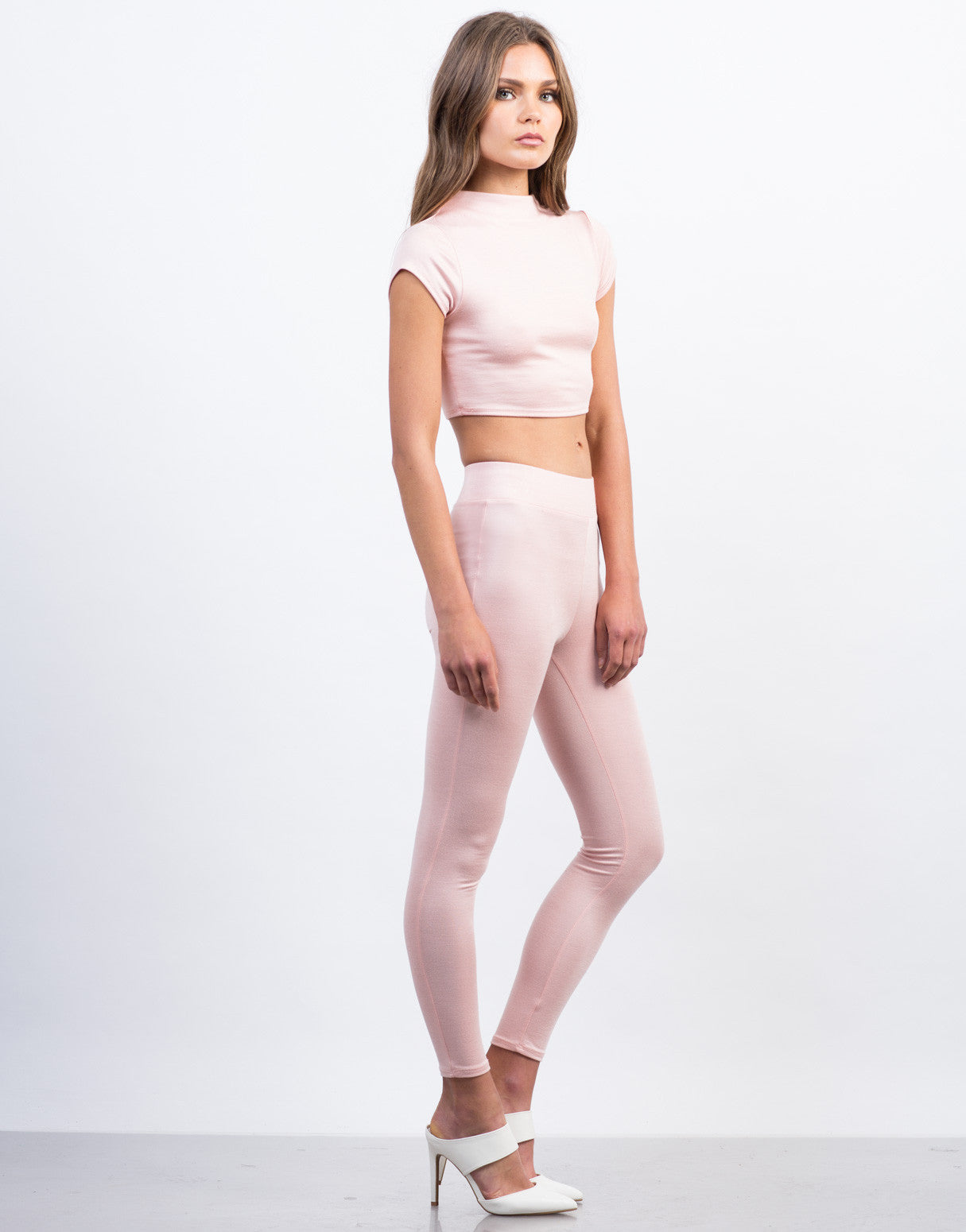 Side View of Simple High Waisted Legging Pants