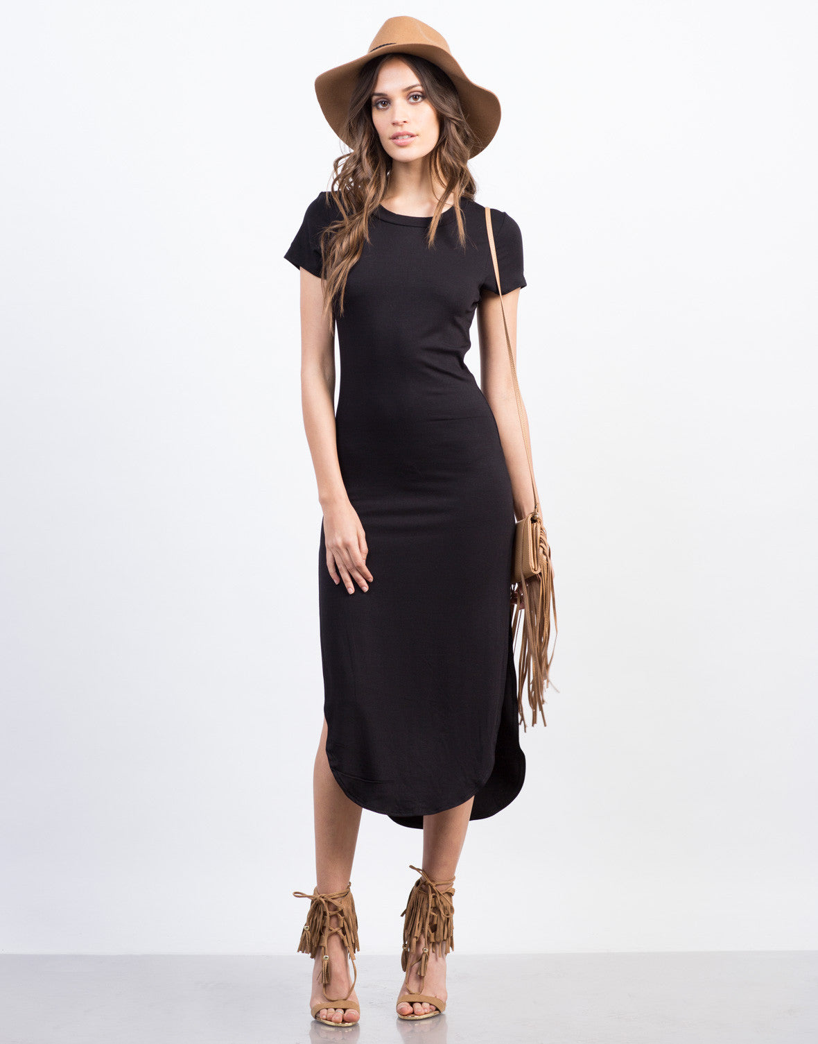 Front View of Simple Midi Dress