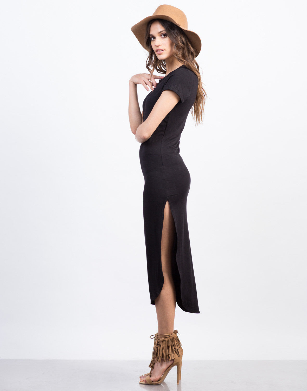 Side View of Simple Midi Dress