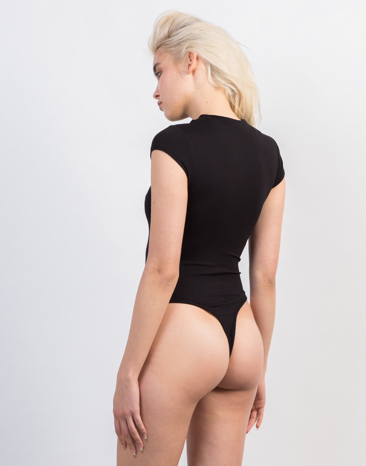Back View of Simple Mock Neck Bodysuit